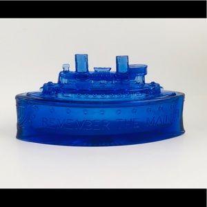 1930's Cobalt Blue REMEMBER THE MAINE Battleship